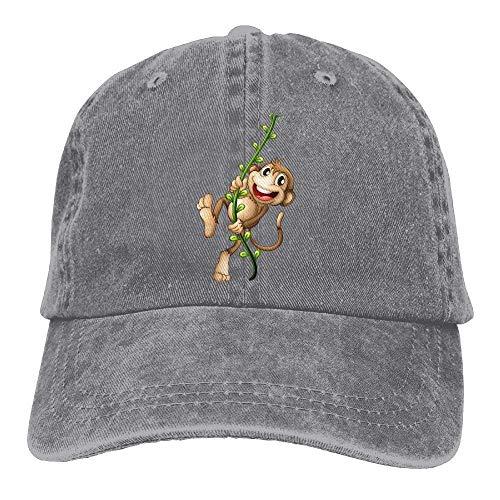 GHEDPO Happy Monkey Denim Baseball Caps Hat Adjustable Cotton Sport Strap Cap for Men ()