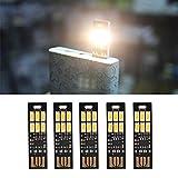 Yizhet 5 pezzi Mini LED Night USB luce,Super Luminoso Ultrasottile la Luce di Notte,Dimmer Tattili a LED Lampada USB per Tastiera Portatile Portachiavi (Bianco Caldo)