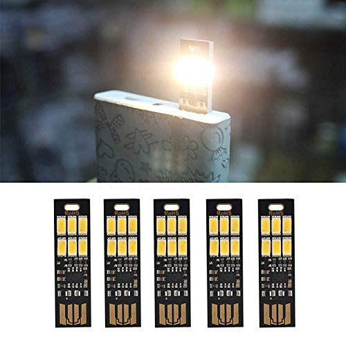 Beleuchtung Ecke Der Tasche (Yizhet 5 STK. USB Licht Schlüsselanhänger Super Hell 6 LED Touch Dimmer Tragbar für Laptop Tastatur, Weißlicht USB Beleuchtung (Warm Weiß))