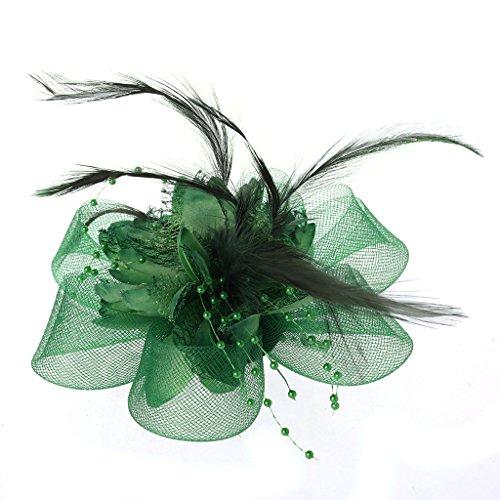 Amarzk Womens Blume Feder Perlen Mesh Corsage Haarspangen Fascinator Braut Haarband ()