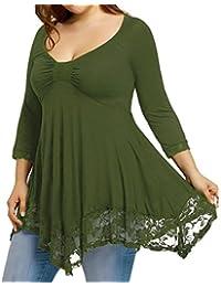 OverDose camisetas larga mujer blusa dobladillo de encaje informal sólido manga larga tapas tallas grandes
