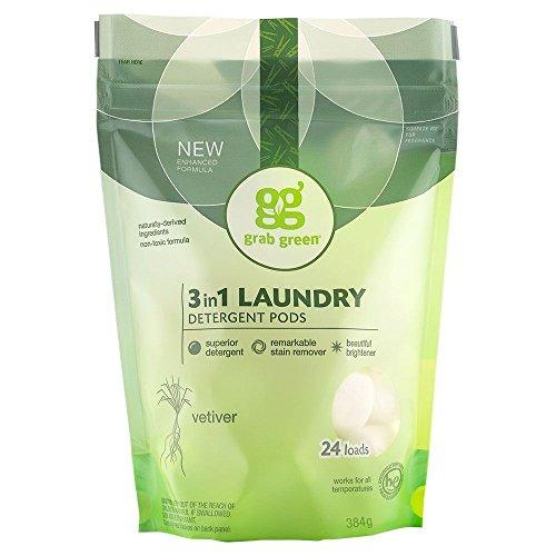 Verde del gancho agarrador - 3 en 1 detergente monodosis 24 cargas Vetiver...