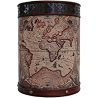 Papelera cubo de la basura 38cm mapamundi madera estilo antiguo