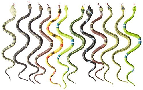 12 Rubber RAINFOREST Snakes/14 Rain Forest Snake Figures/PARTY Favors/NATURE Toys/Anaconda/BOA Constrictor/Rattle/CORAL/Viper by Rhode Island Novelty - Favor Rattle Party