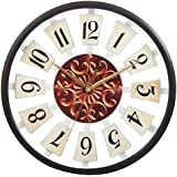 Efinito 12 Inch Vintage Look Wall Clock With Glass For Home/Kitchen / Living Room/Bedroom (Silent Non Ticking Movement)
