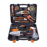Garden Tool Set, 12 Stück Garten Heavy Duty Tools Set Kit mit Hartschalenkoffer, Gartenschere, Astsäge, Kelle Pruners, Rechen, Garten Geschenke Für Männer und Frauen