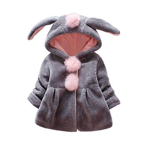 sunnymi 0-24 Monate Baby Mädchen Venonat Hasenohren Mit Kapuze Halten Warme Mantel Jacke Kleidung