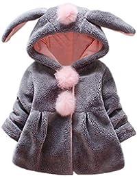 JiaMeng Orejas de Conejo con Capucha de Venonat Mantenga abrigadas Abrigos de la Chaqueta de Moda para niños Abrigo Grueso
