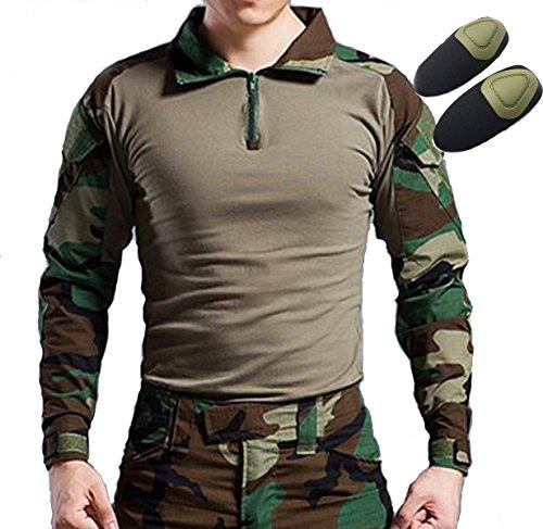 Tactical Jagd Militär Lange Ärmel Shirt mit Elbow Pads woodland Forest Camo, Woodland - Woodland Digital Camo Hose