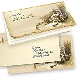 TATMOTIVE 10-er SETS Weihnachtskarten Klappkarten Grußkarten Set Motiv WINTERIDYLLE Frohe Weihnachten + Umschlag und Einlageblatt zum bedrucken
