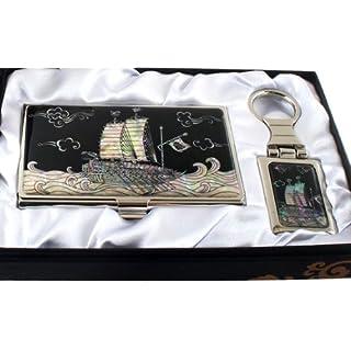 Perlmutt Visitenkartenetui und Schlüsselanhänger Set Schildkrötenschiff Turtle Ship Koreanisches Schlachtschiff Visitenkarten Namenskarten Edelstahl Metall Perlmutt Design Luxus Anhänger