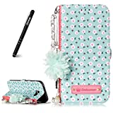 Galaxy A5 2017 Case Wallet, Samsung Galaxy A5 2017 Phone Case, Slynmax [Florid Series] Premium PU Flip Folio Leather Cell Phone Case with Pearl Flower Chain Shoulder Messenger Phone Wrist Strap Bag for Women Girl Ultra Slim Fit Bookstyle with Folding Stand Card Holder Organizer Business ID Slots Purse Magnetic Closure Silicone TPU Shockproof Protective Case Smart Shell for Samsung Galaxy A5 2017 A520+ 1* Stylus Pen
