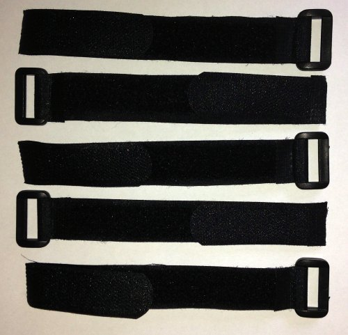 Pack of 5 Black Hook and Loop Strap Fastener Cable Ties re-useable straps 2.5CM X 30CM