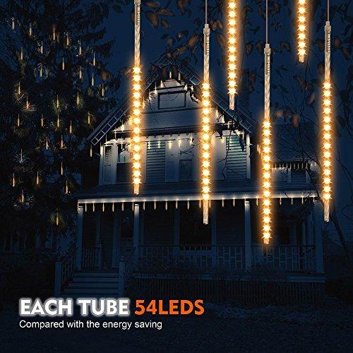 Samoleus 50cm 10 Tube 540 LEDs Meteorschauer Lichterkette, IP65 Wasserdichte Meteor Shower Lichter mit EU Stecker, Meteorschauer Regen Lichter für Party Weihnachten...