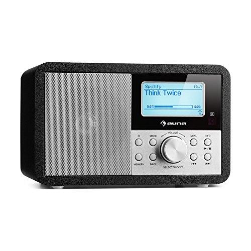 auna Worldwide Mini - Internet Radio, WLAN Lettore di rete, USB, MP3, AUX, VHF/DAB/DAB+/FM, RDS, Sveglia, Sleep Timer, Design retrò, Display LCD con ora e data, Altoparlante mono, Nero