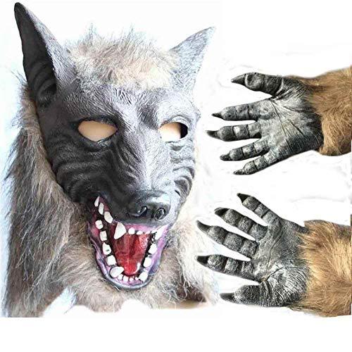 Jke pan Halloween Werwolf Maske Handschuhe Zweiteilige Terrorist Devil Masquerade Wolf Kopf Maske Handschuhe (Uk Halloween Wolf Maske)