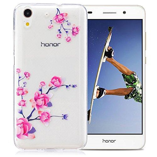 Nnopbeclik Hülle Für Huawei Y6 II / Huawei Honor 5A Silikon, Transparent Ultra Slim TPU Cover Tasche Drucken Blume Case Etui, Flexibel Schutzhülle Multi Muster Durchsichtig Clear Case Handytasche Stoß Pflaumenblüte