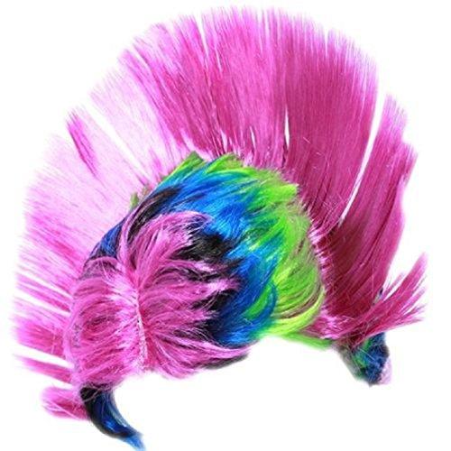 MJARTORIA Mohawk Regenbogen-Perücke Kopfschmuck Kostüm Cosplay Perücke Lila (Mohawk Kostüme)
