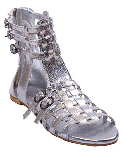 John Sparrow bout ouvert chaussures bride à la cheville à glissière sandale plate des femmes - taille disponible Argent
