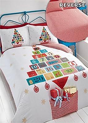 Advent Christmas Duvet Cover and Pillowcase Set, White