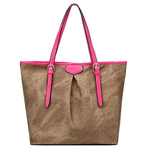 Donne Borsa A Tracolla Tote Bag Denim Pattern Grande Capacità Borse A Mano Shopper Borse Albicocca