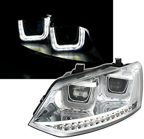 Preisvergleich Produktbild Eagle Eyes Scheinwerfer Set,  mit LED Blinker,  mit U-Tube Tagfahrlicht Optik,  in Chrom