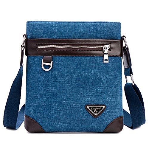 HT Canvas Messenger Bags, Borsa a spalla uomo Blue