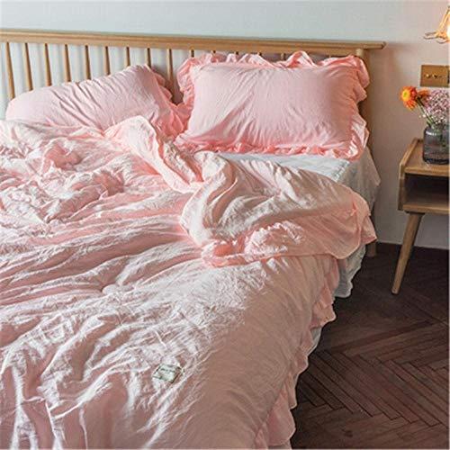 HUILIN Solid Pink White Patchwork Sommer Quilt Tröster komfortable Gesteppte Bettdecke Tagesdecke Plaids Sommer Decke Throw, Pink, 180x200cm gesetzt