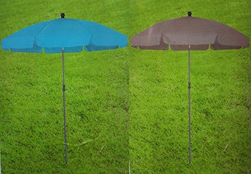 Sonnenschirm O 180 Cm Strandschirm Gartenschirm Uv Schutz Taupe Blau