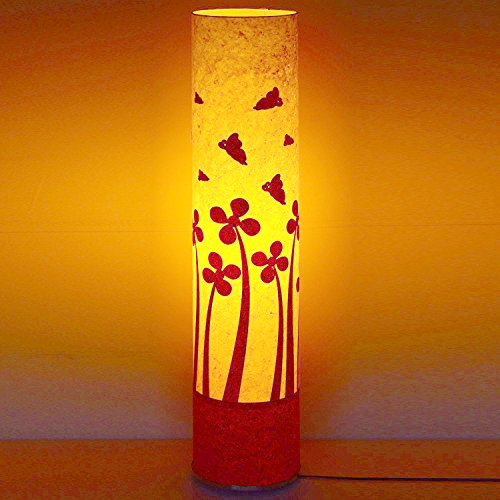 butterfly-on-flowers-yellow-red-paper-shade-home-office-floor-lamp-bedroom-light