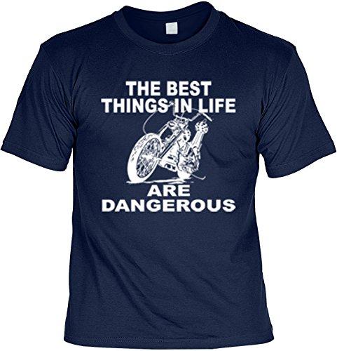Biker Shirt /T-Shirt/Baumwoll-Shirt lässiger Aufdruck: The Best Things in Life - cooles Motiv Navyblau