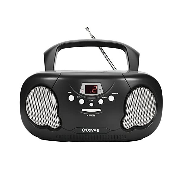 Groov-e Portable CD Player Boombox with AM/FM Radio, 3.5mm AUX Input, Headphone Jack, LED Display 518e0D72t3L