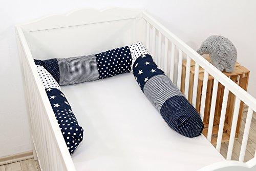 ULLENBOOM  Bettschlange, Nestchenschlange Blaue Sterne (Baby Bettrolle 200x13 cm, ideal als Babybett Kantenschutz, Lagerungskissen, Motiv: Sterne)