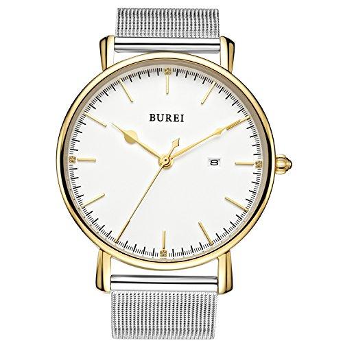 BUREI Unisex Ultra Dünne Silberne Minimalistische Quartz-Uhr mit Datumsanzeige und Milanese Armband (Gold) Damen-boyfriend-uhr-gold