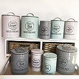 Vorratsdose KITCHEN 3 Farben & Grössen Blechdose Kaffedose Teedose Landhaus Nostalgie Shabby Cottage (klein, Tea, grau)