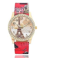 SSITG Women's Quartz Analogue Watch Rhinestone Leather Strap Watches Eiffel Tower