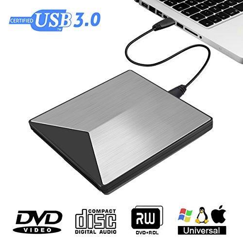 Externes DVD Laufwerk, M.way USB3.0 ultradünne DVD-RW DVD/CD Brenner Slim extern Laufwerk tragbare DVD CD Brenner für Laptop/ Notebook/ MacBook/ Desktop, unterstützt Windows 2003 / XP/ 7/ 8/ 10, Mac OS, Vista 7/ 8 Silber