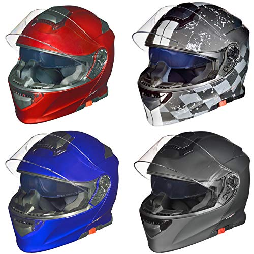 RS-982 Klapphelm Motorradhelm Conzept Motorrad Modular Roller Helm rueger, Größe:L (59-60), Farbe:Rot