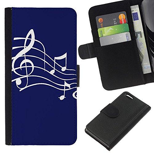 Graphic4You Musik Noten Muster Design Brieftasche Leder Hülle Case Schutzhülle für Apple iPhone 5C (Braun) Marineblau