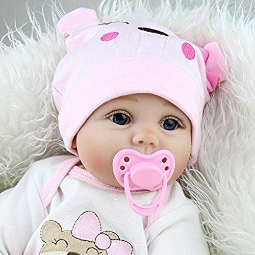Yesteria Lebensechte Reborn Babypuppe Mädchen Silikon Weiß und Rosa Outfit 55 cm -