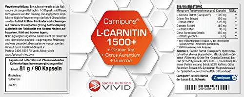 L-CARNITIN 1500 plus für den Sixpack, veganes Marken-L-Carnitin von Carnipure, mit Grüner-Tee-, Guarana- und Bitterorangen-Extrakt, 90 vegetarische Kapseln (reicht bis zu 90 Tage)