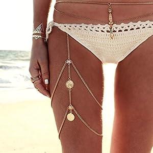 AnazoZ Körperschmuck Damen Beinkette Münzen Anhänger Körperkette, Hotpants Bikini Badeanzug Sommer Oberschenkelkette Silber Gold für Frauen