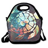 Space Watercolour Turtle Lunch Tote Insulated Reusable Picnic Lunch Bags Boxes For Men Women Adults Kids Toddler Nurses
