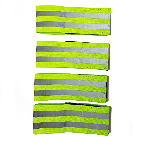 Hi Vis Reflective Running Armbands - High Visibility Elasticated Armbands / Ankle Bands with Hook and Loop Closure, for Running, Walking, Cycling and Outdoor Safety. Ideal for Adults and Children