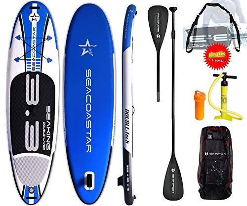 SEACOASTAR Aktion SEAKING ALU-Set (325x80x15) Double-Layer SUP Board Paddelboard blau inkl. GRATIS Tragegurt (Board,Bag,Pumpe,ALU SUP-/Kajak Paddel+Tragegurt)