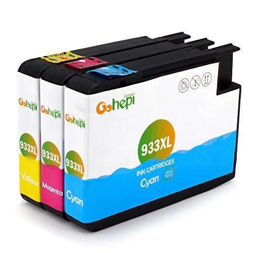 Gohepi Ersatz für HP 933 933XL Cyan Magenta Gelb Druckerpatronen Hohe Kapazität Kompatibel für HP Officejet 6700 6600 7612 7110 7610 6100 (1 Blau, 1 Rot, 1 - Hp 933xl Drucker-tinte