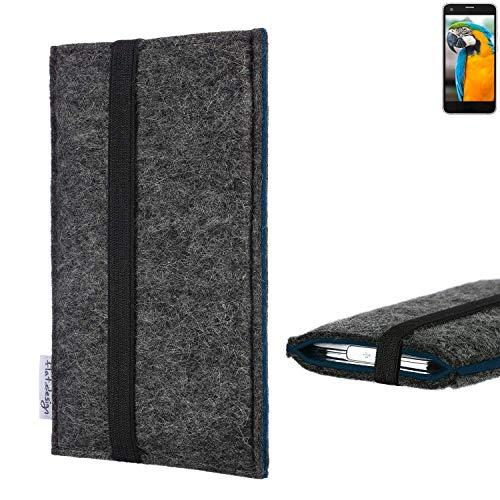 flat.design Handyhülle Lagoa für Vestel V3 5040 | Farbe: anthrazit/blau | Smartphone-Tasche aus Filz | Handy Schutzhülle| Handytasche Made in Germany