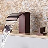 ZLL Contemporaine cascade généralisée généralisé avec Valve en céramique deux poignées trois trous pour Bronze huilé, Robinet lavabo