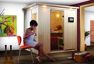 Bodin - Karibu Sauna inkl. 9-kW-Ofen - ohne Dachkranz - von Woodfeeling GmbH - Du und dein Garten
