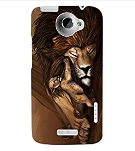 ColourCraft Lion and Cute Cub Design Back Case Cover for HTC ONE X